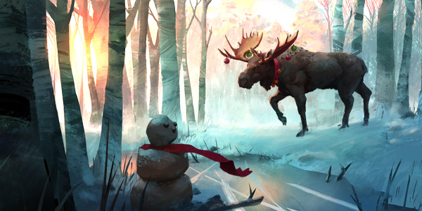 Post apocalyptic snowman and moose with christmas decoration